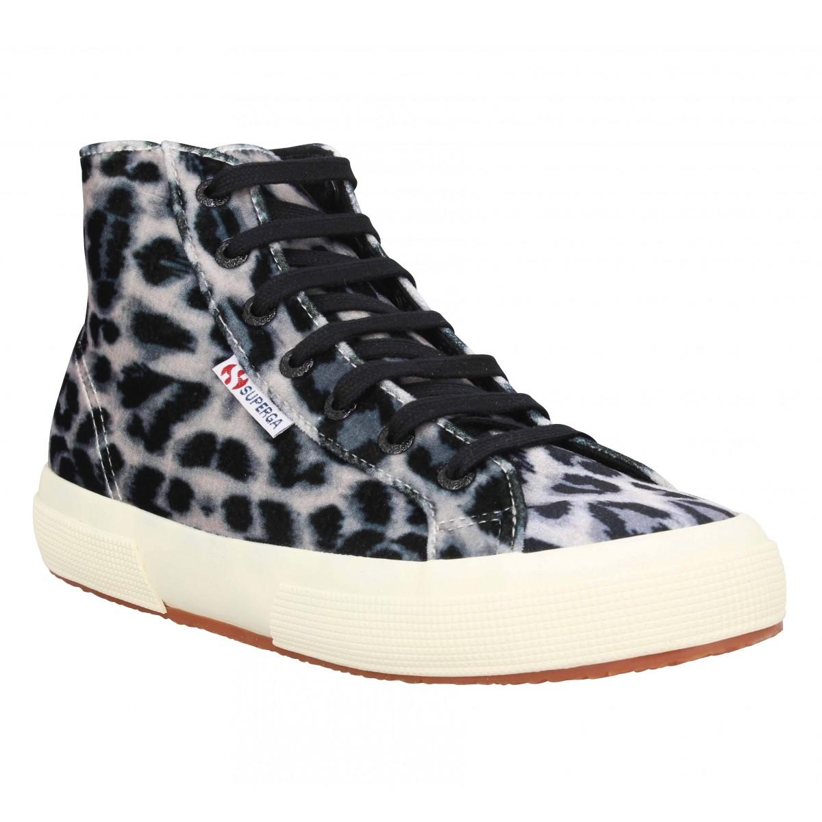 Baskets SUPERGA 2795 velvet leopard Femme Marron