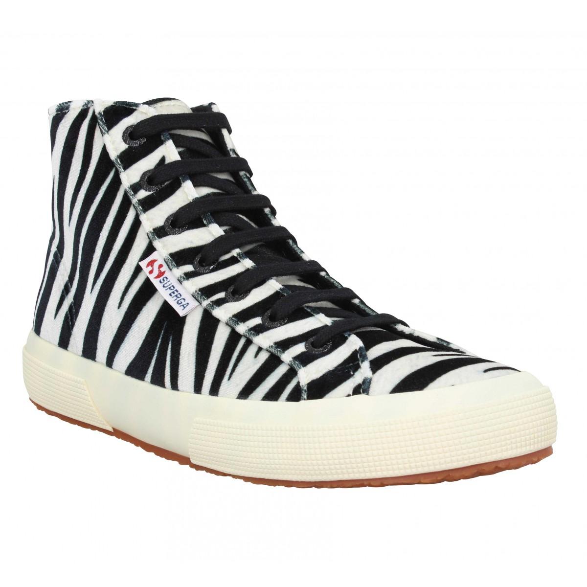 Baskets SUPERGA 2795 velvet zebra Femme Noir Beige