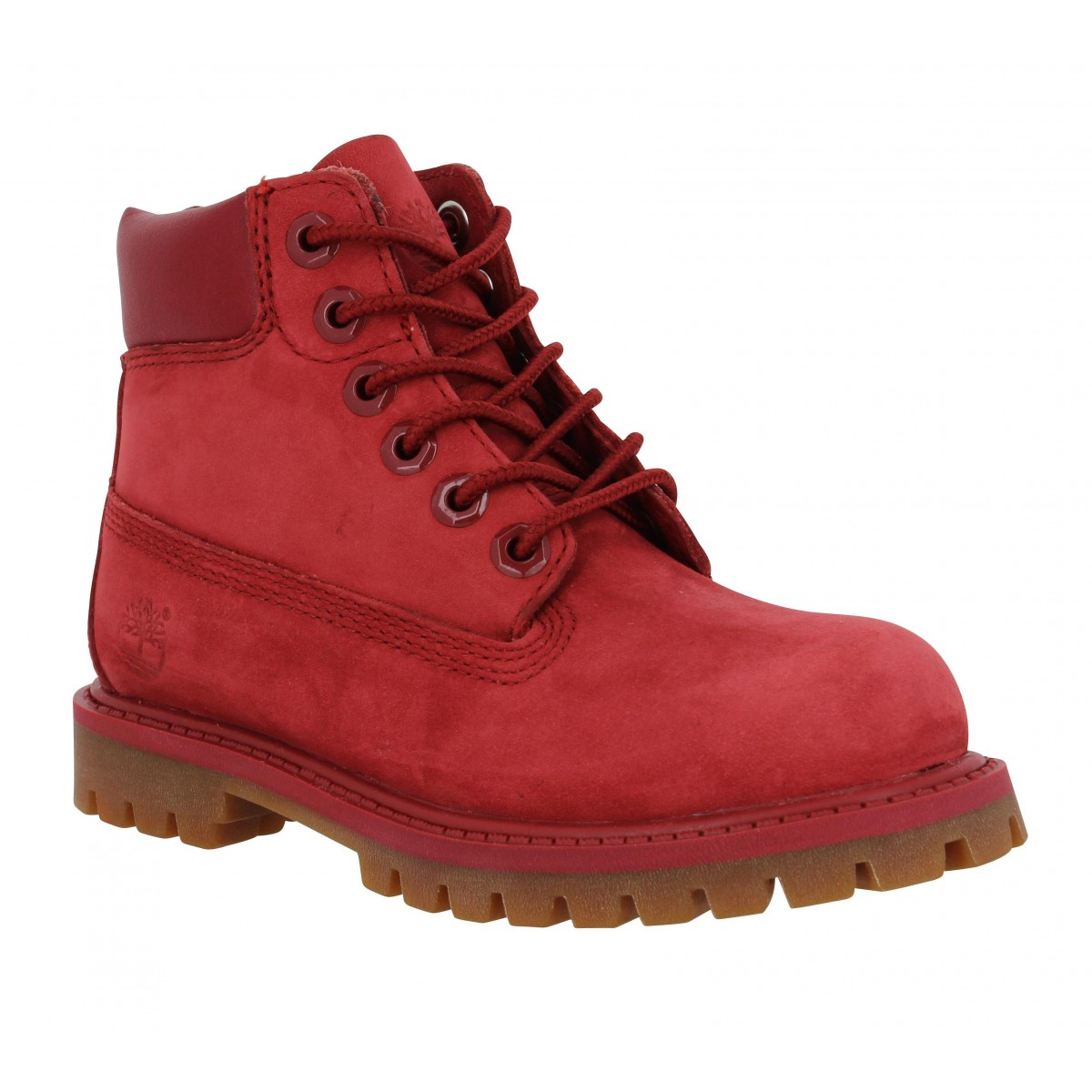 Bottines TIMBERLAND 6in Premium velours Enfant Rouge