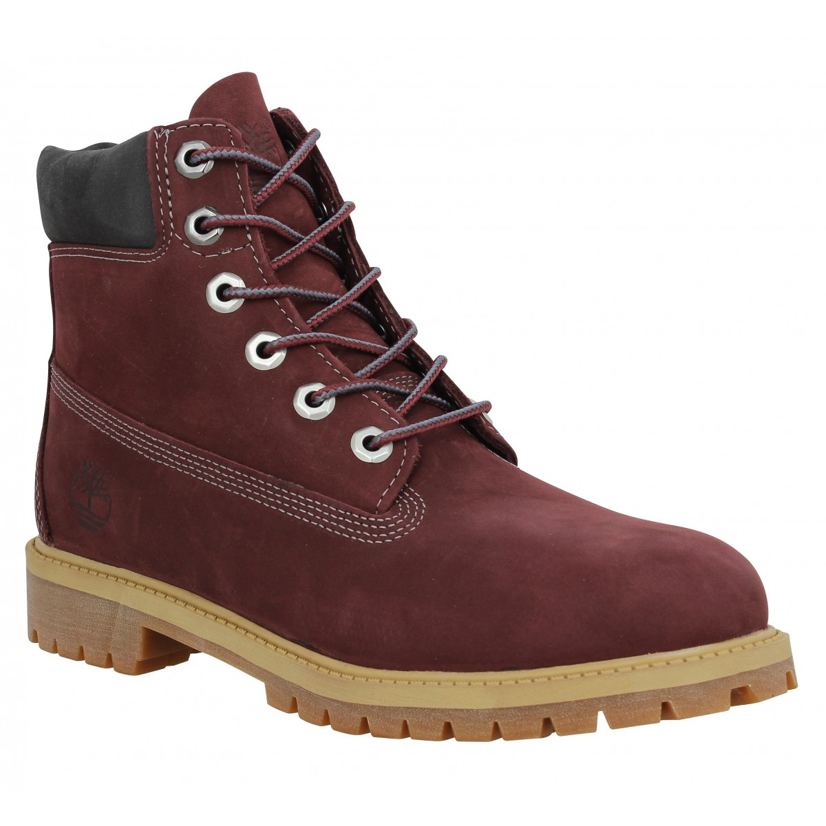 Bottines TIMBERLAND 6in Premium velours Femme Bordeaux