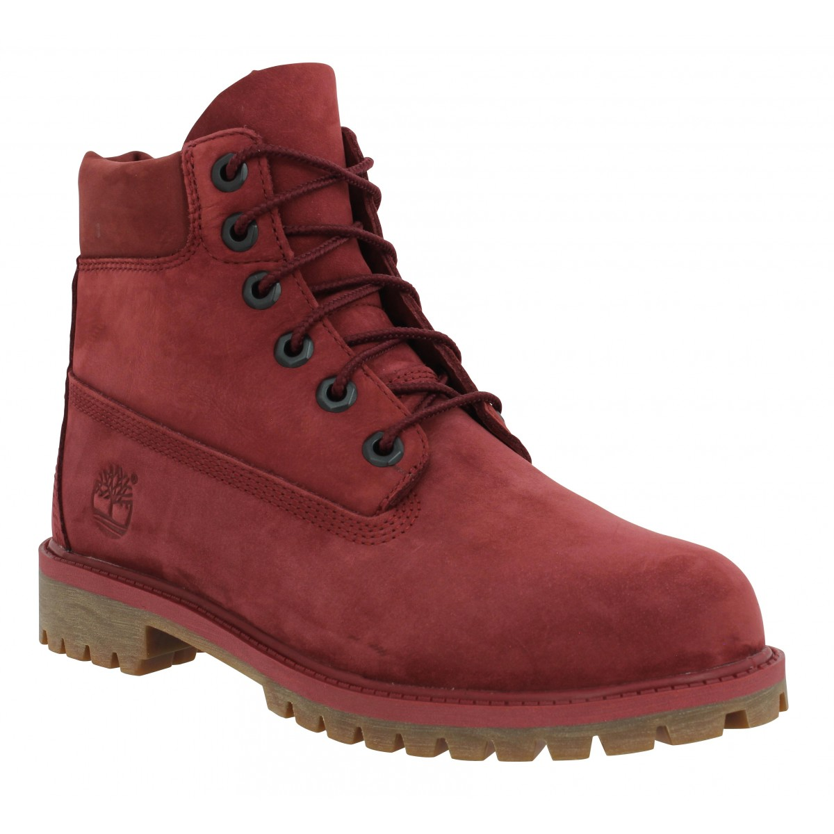 708dabd204b Bottines TIMBERLAND 6in Premium WP velours Femme Bordeaux