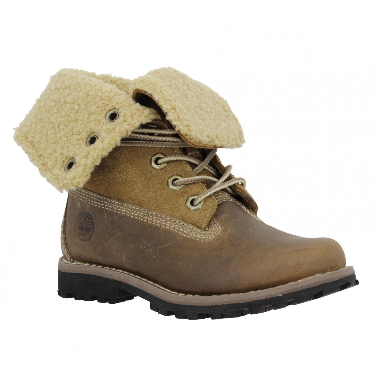 Bottines TIMBERLAND Authentic 6in cuir gras Enfant Taupe