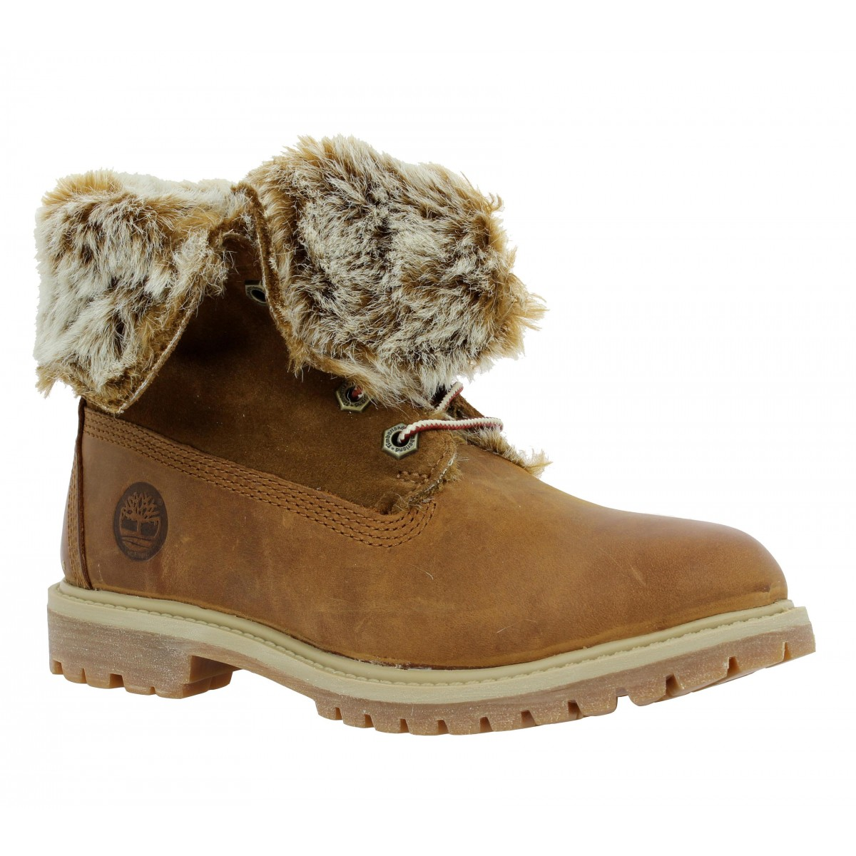 Bottines TIMBERLAND Authentics cuir + velours  Femme Cognac