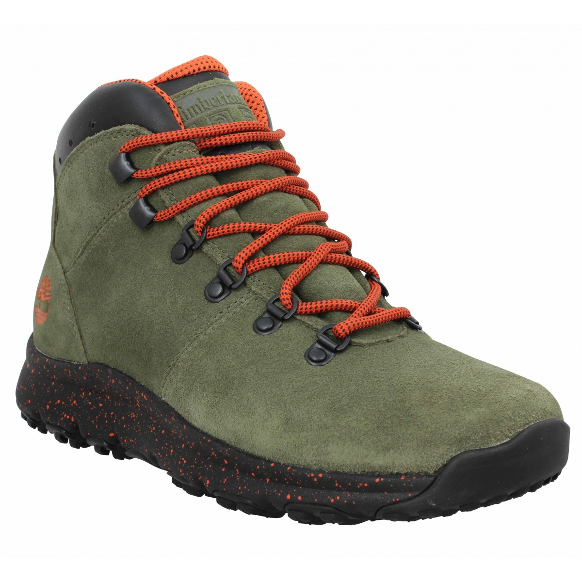 Bottines TIMBERLAND World Hiker Mid velours Homme Kaki