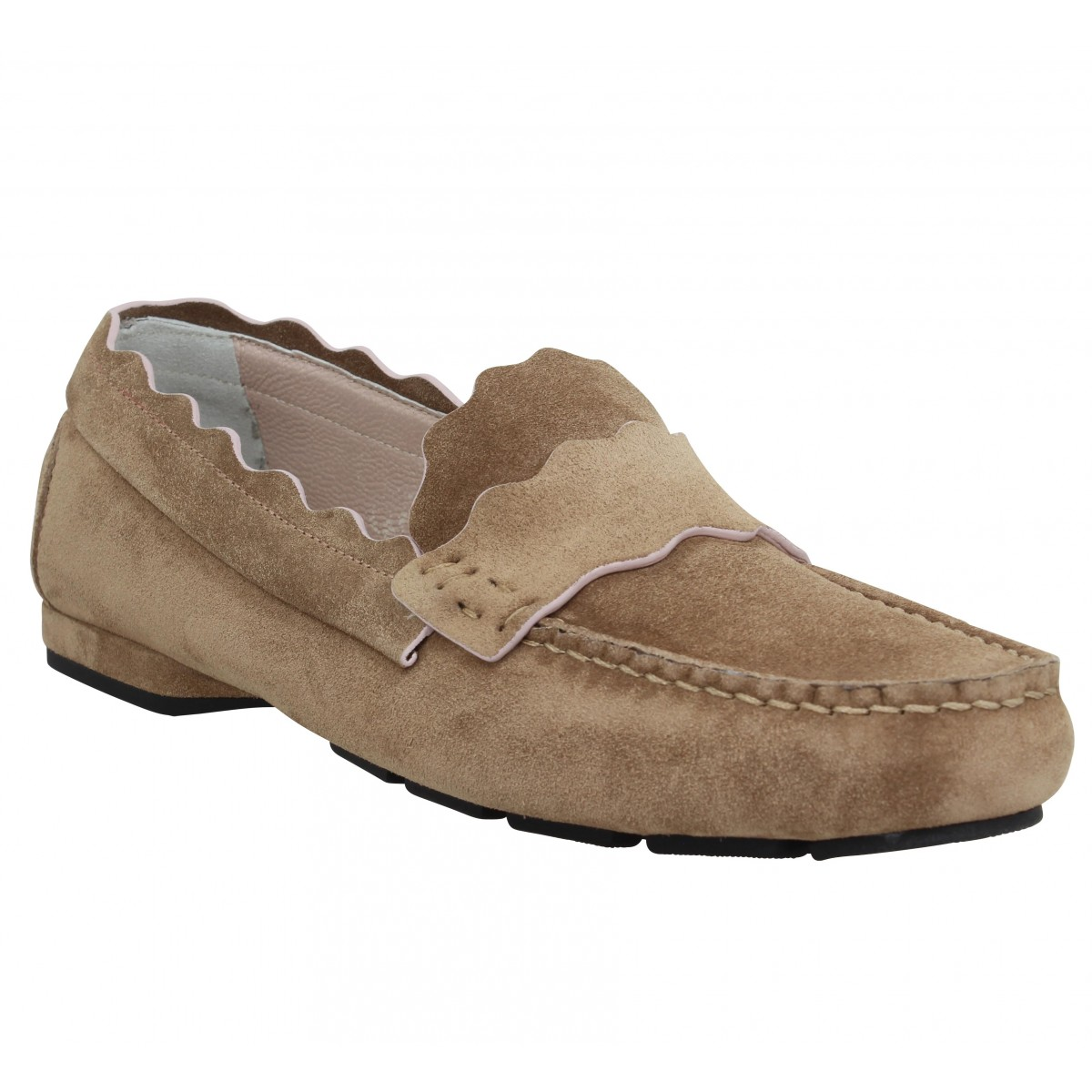 Mocassins TRIVER FLIGHT 18704 velours Femme Beige