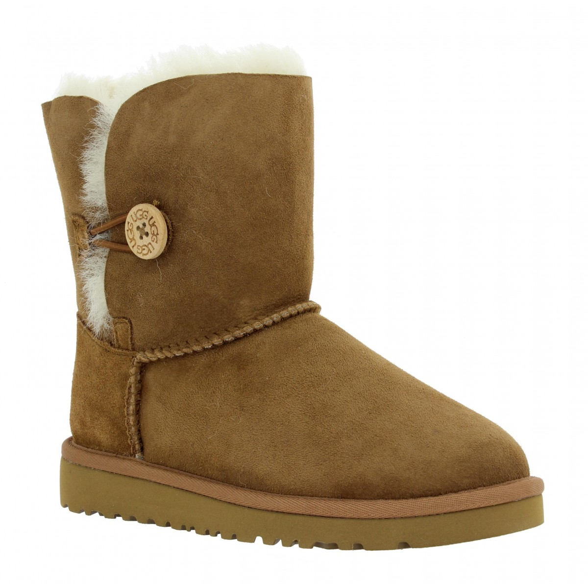 Bottines UGG AUSTRALIA Bailey Button velours Enfant Chestnut