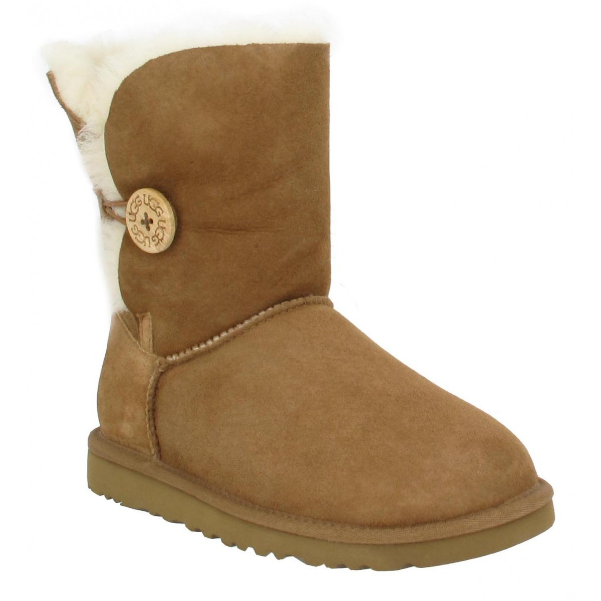 Bottines UGG AUSTRALIA Bailey Button velours Femme Chestnut