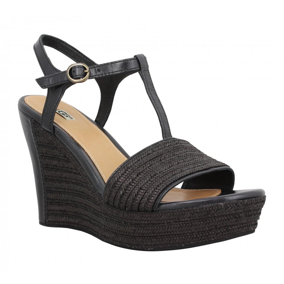 Compensées UGG AUSTRALIA Fitchie cuir + textile Femme Noir