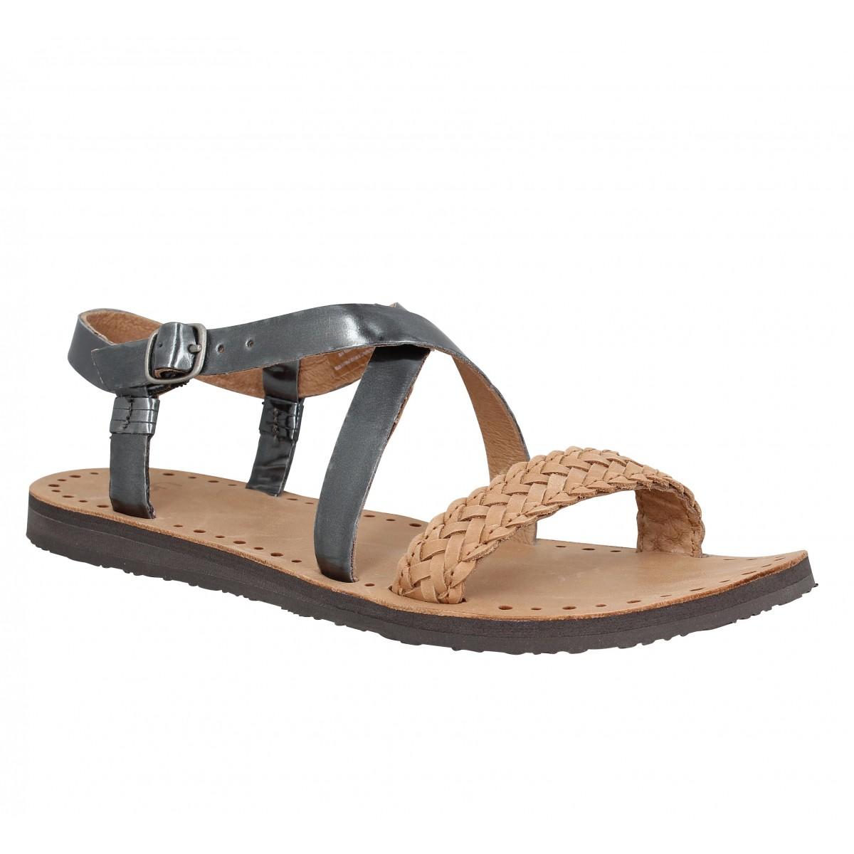 Nu-pieds UGG AUSTRALIA Jordyne cuir Femme Anthracite