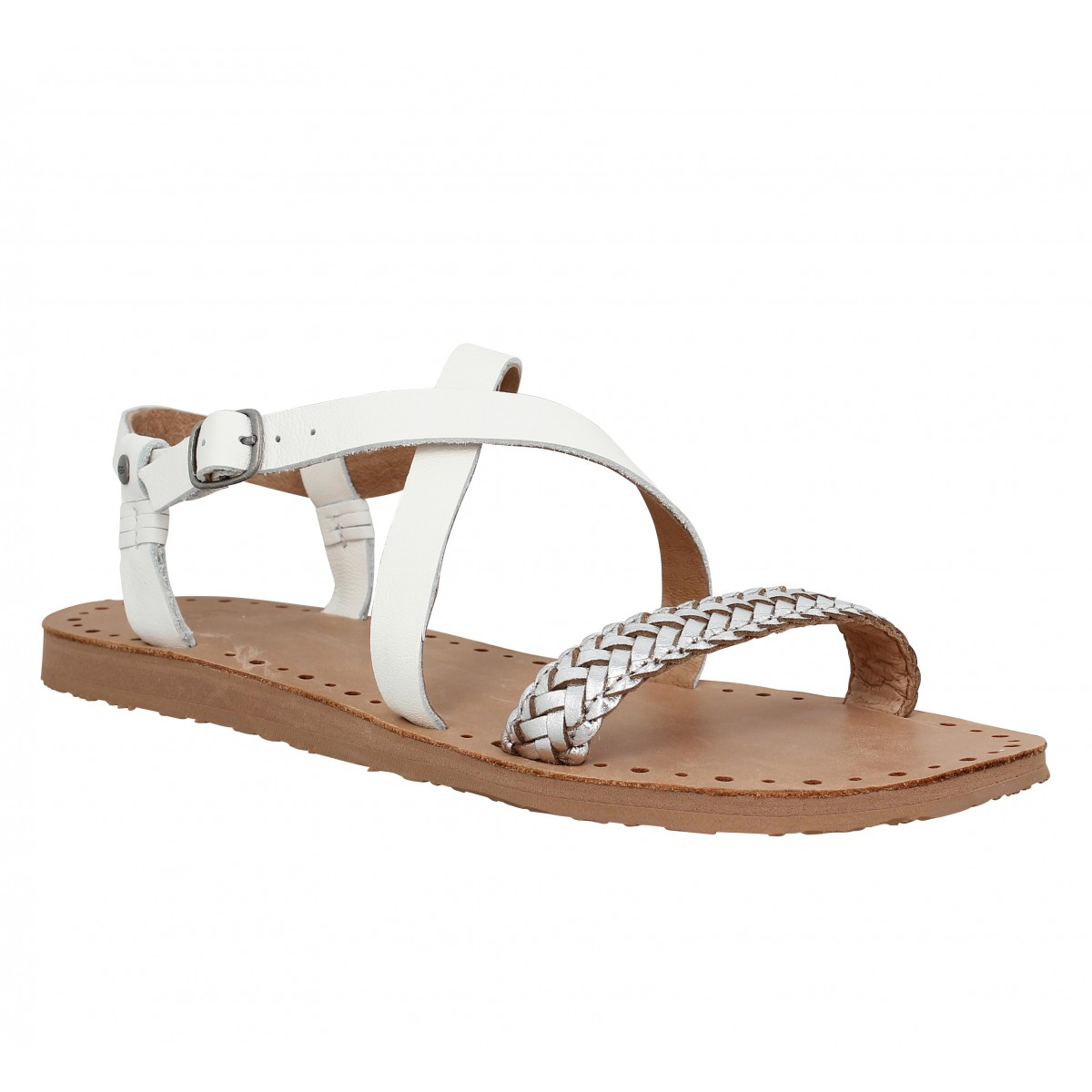 Nu-pieds UGG AUSTRALIA Jordyne cuir Femme Blanc
