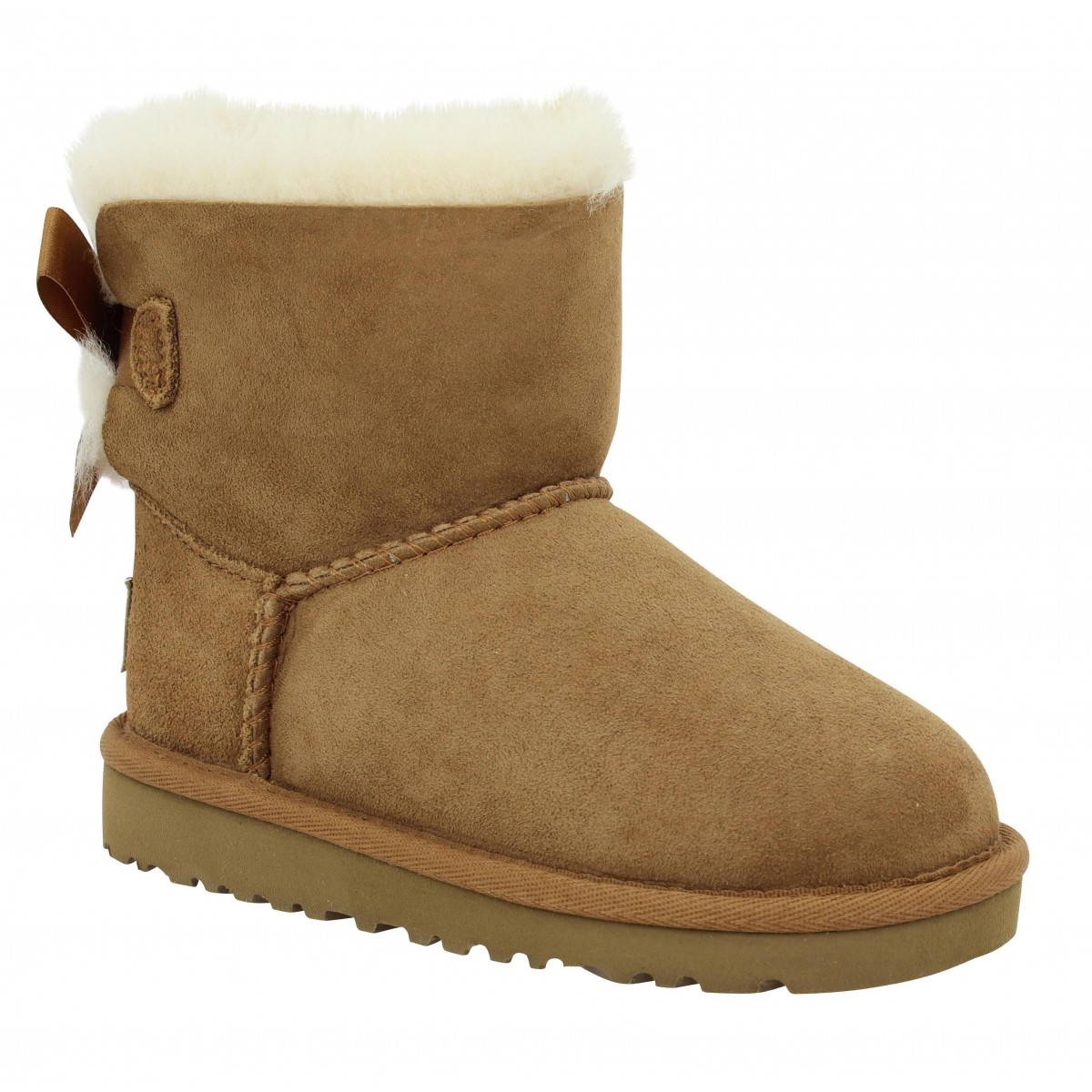 Bottines UGG AUSTRALIA Mini Bailey Bow velours Enfant Chestnut