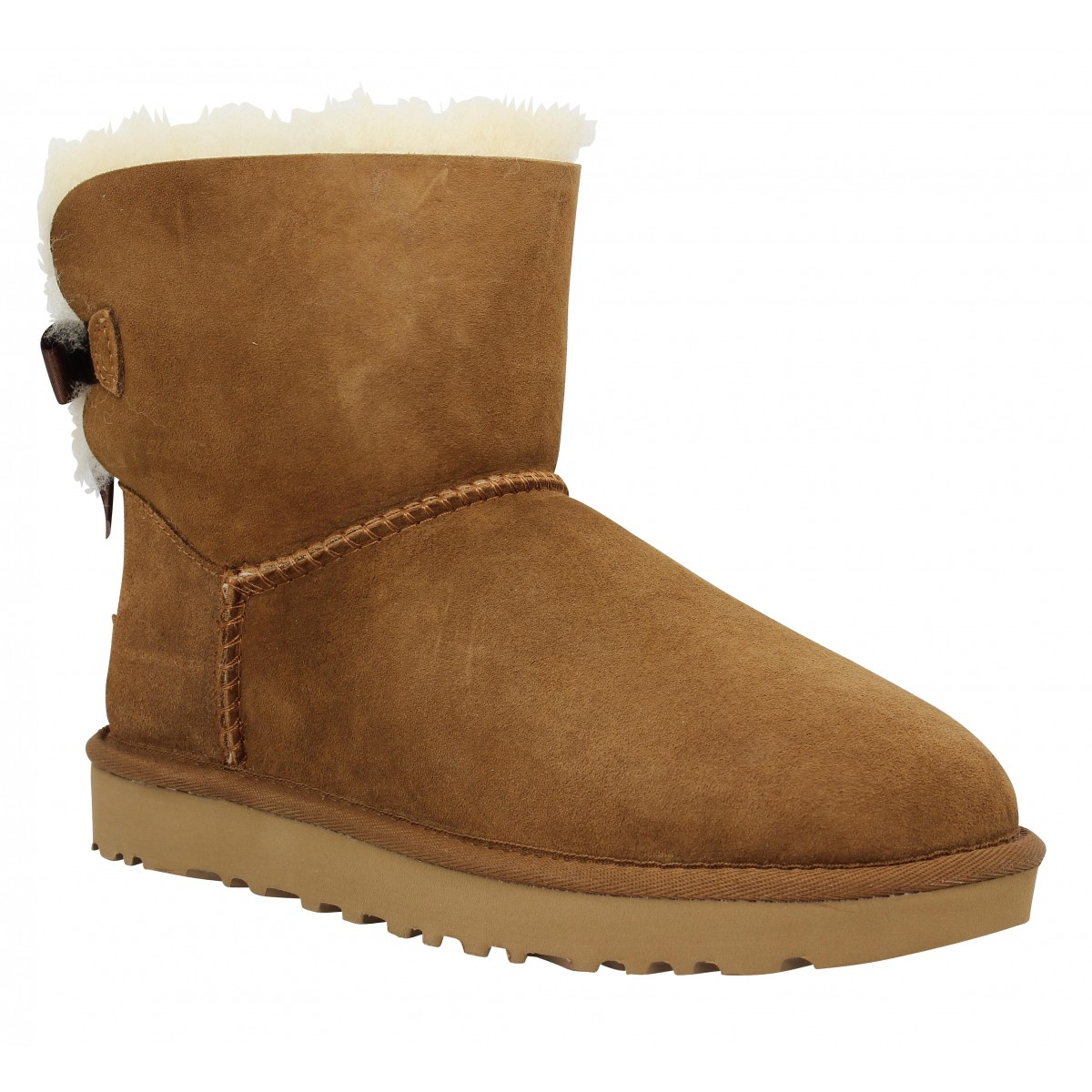 Bottines UGG AUSTRALIA Mini Bailey Bow velours Femme Chestnut