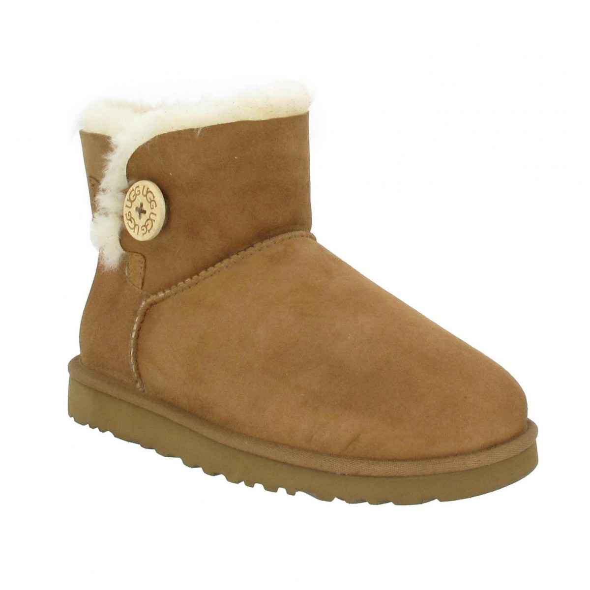 Bottines UGG AUSTRALIA Mini Bailey Button velours Femme Chestnut
