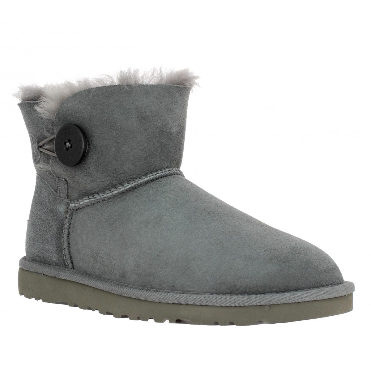 Bottines UGG AUSTRALIA Mini Bailey Button velours Femme Gris