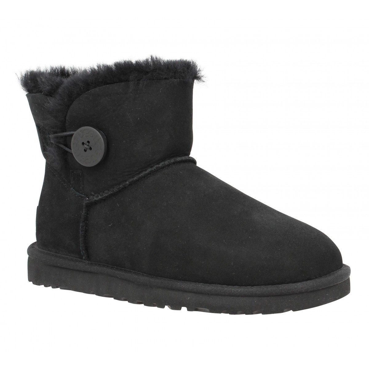 Bottines UGG AUSTRALIA Mini Bailey Button velours Femme Noir
