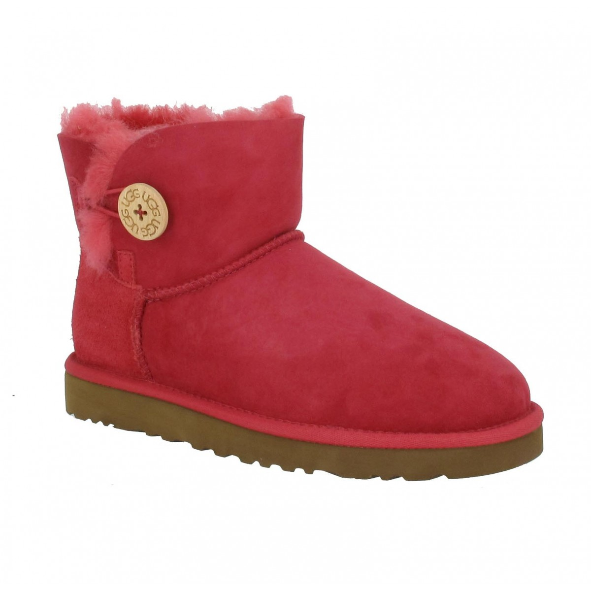 Bottines UGG AUSTRALIA Mini Bailey Button velours Femme Rose