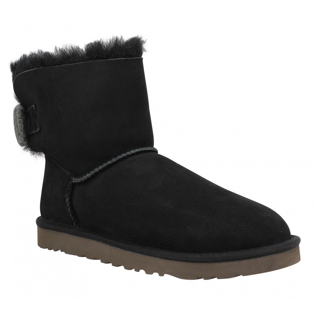 Bottines UGG AUSTRALIA Mini Bailey Knit Bow velours Femme Black