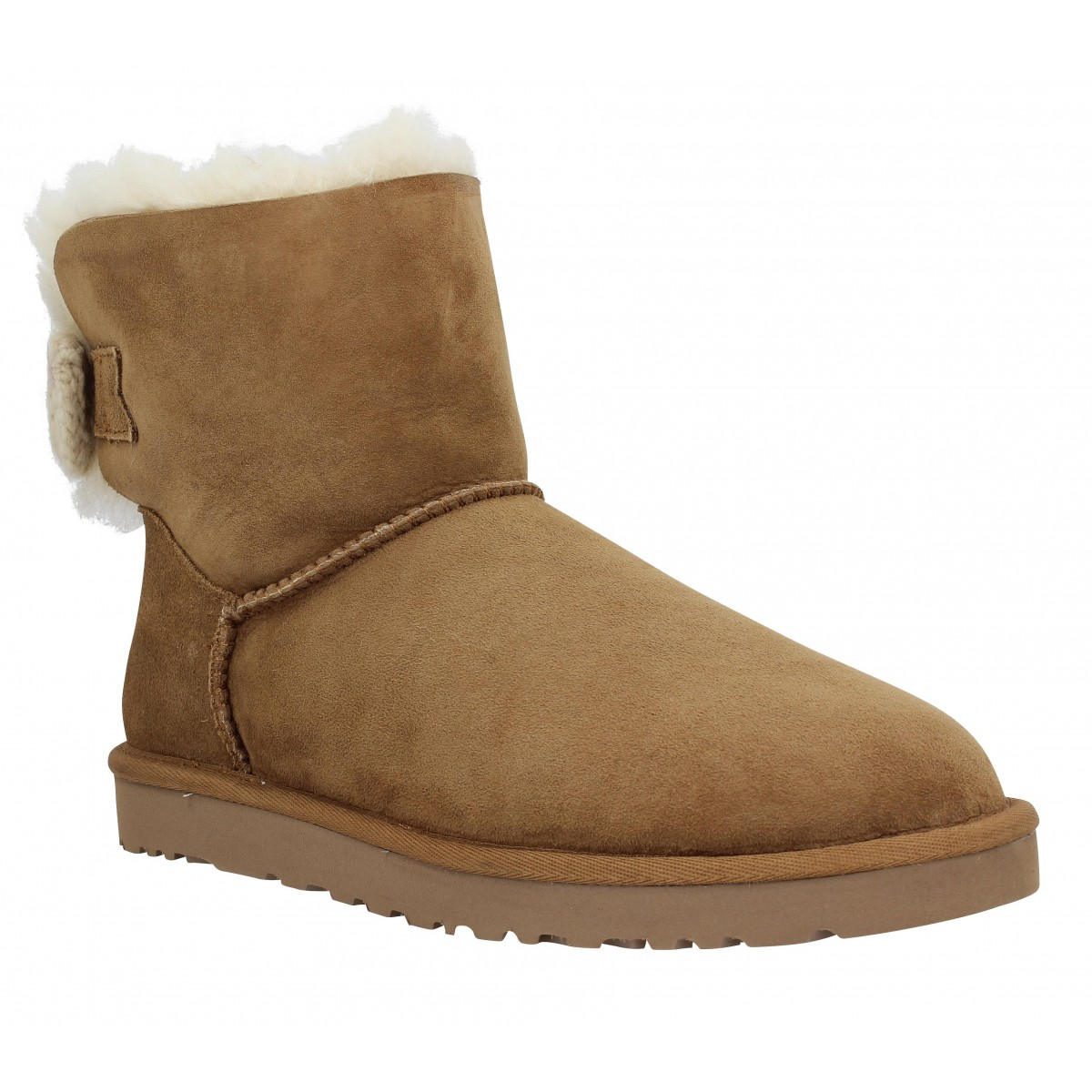 Bottines UGG AUSTRALIA Mini Bailey Knit Bow velours Femme Chestnut