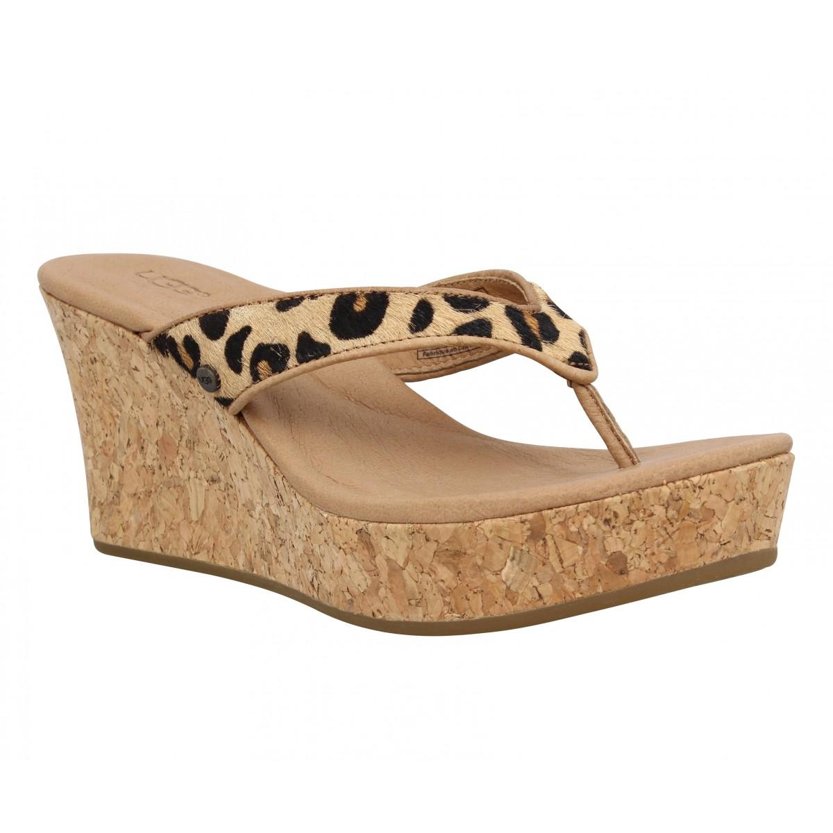 Compensées UGG AUSTRALIA Natassia cuir leopard Femme Chestnut