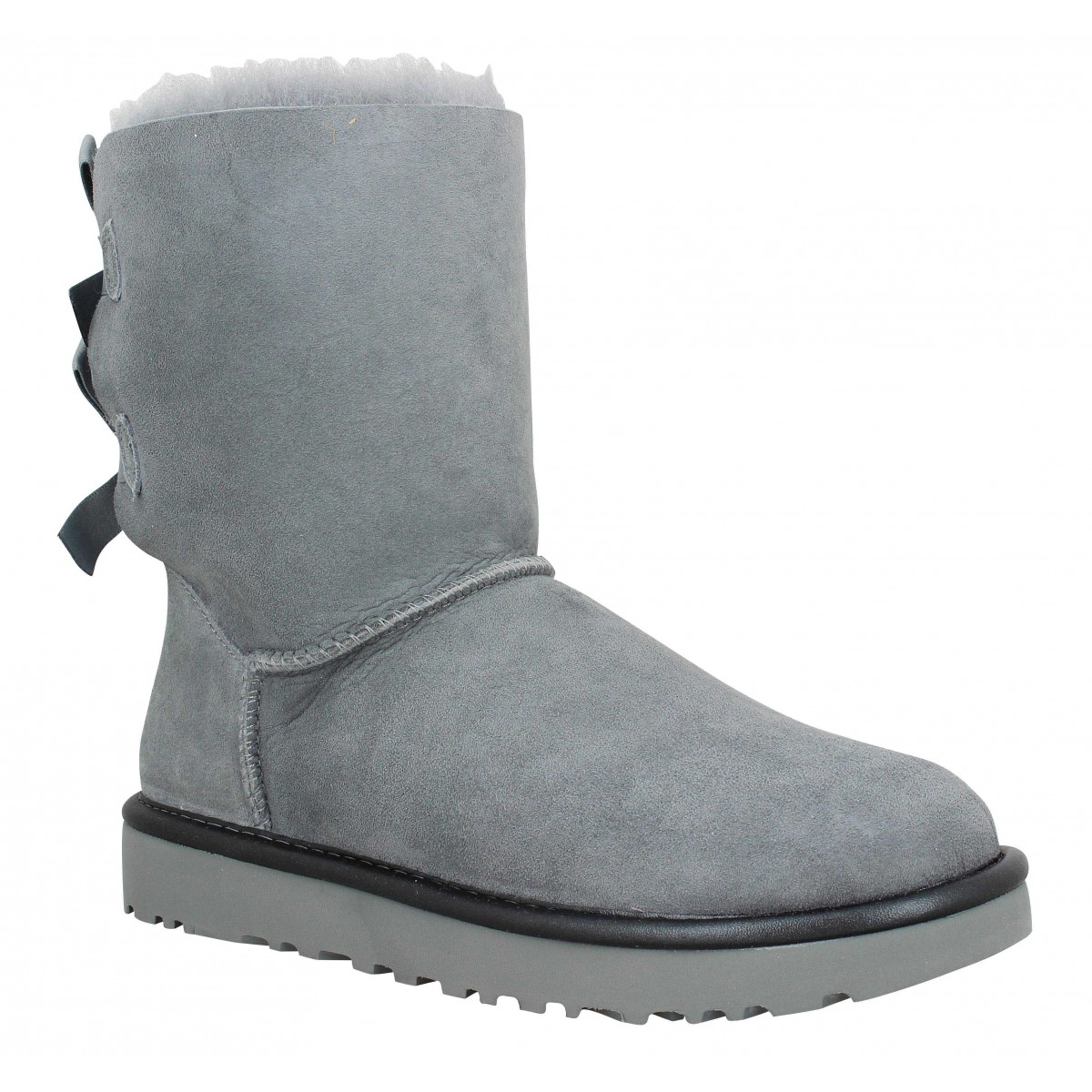 Bottines UGG Bailey Bow Metallic velours Femme Gris