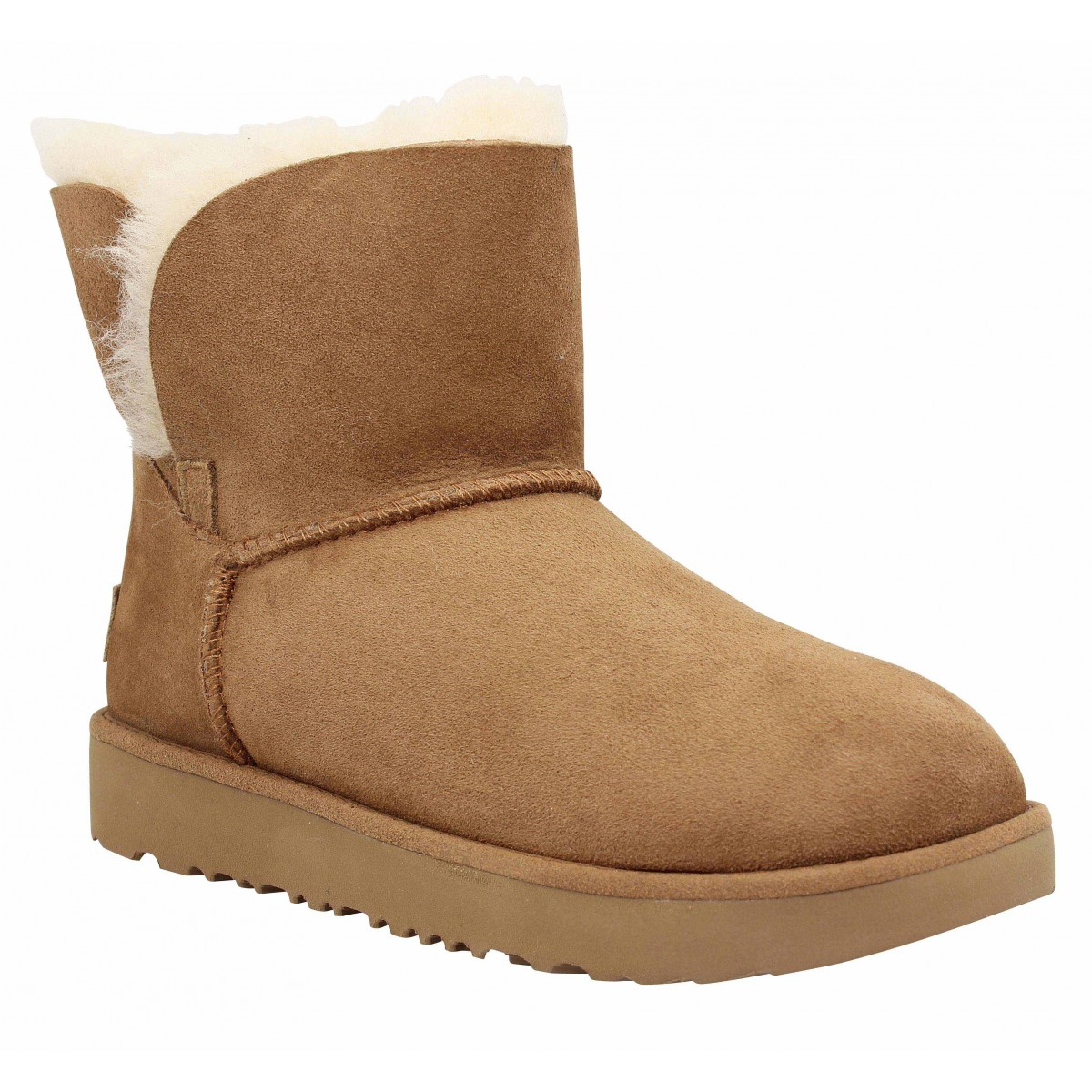 Bottines UGG Classic Cuff Mini velours Femme Chestnut