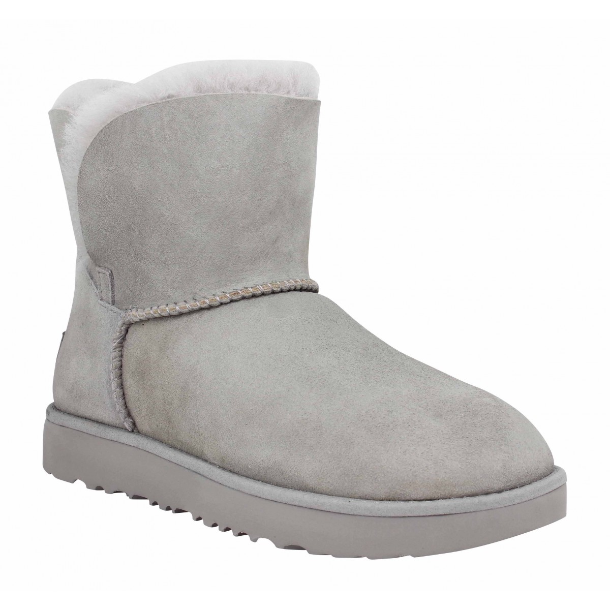 Bottines UGG Classic Cuff Mini velours Femme Gris