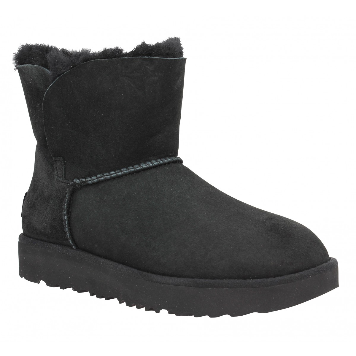 Classic Cuff Velours Ugg Fanny Chaussures Noir Mini Femme fq58W7