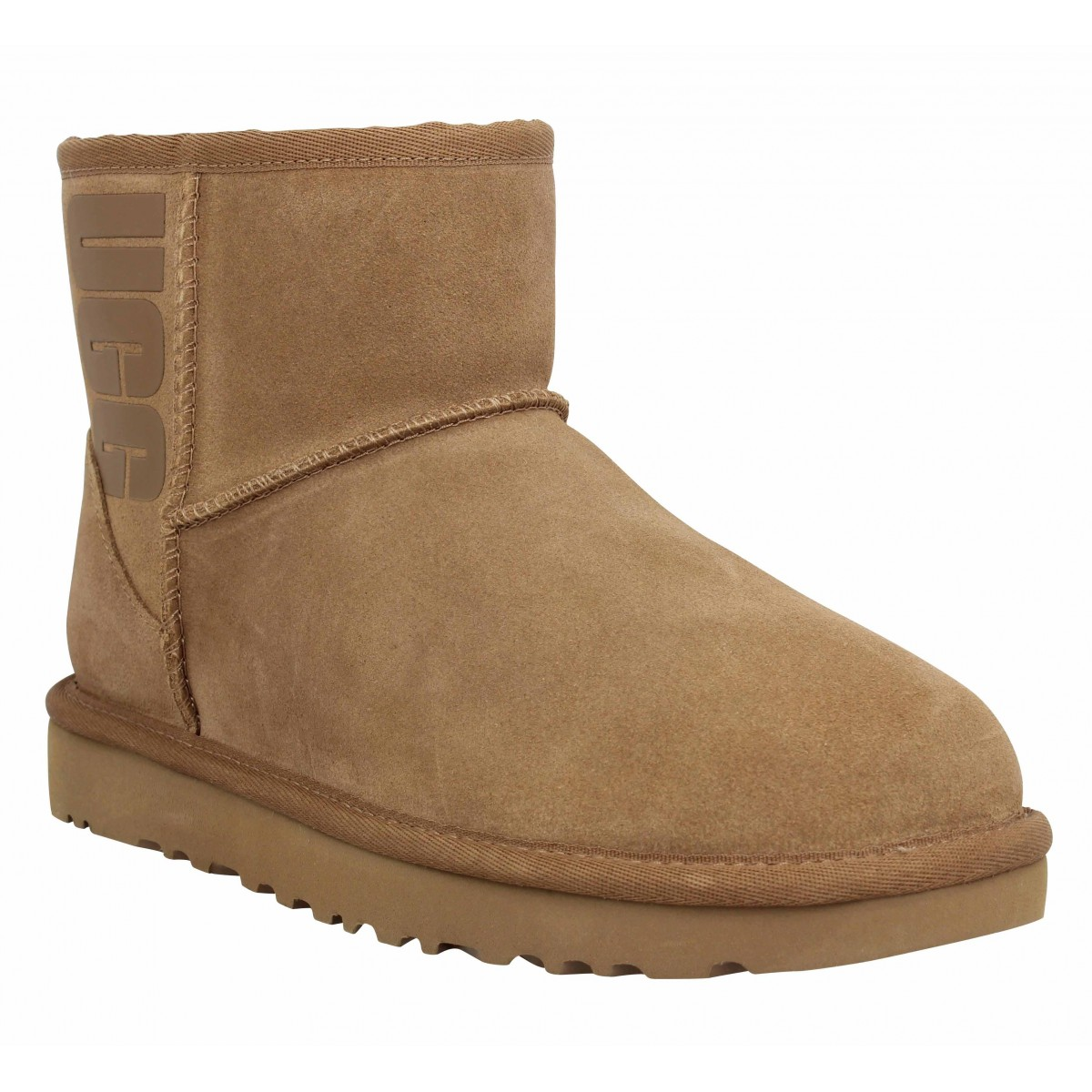 Bottines UGG Classic Mini Logo velours Femme Chestnut