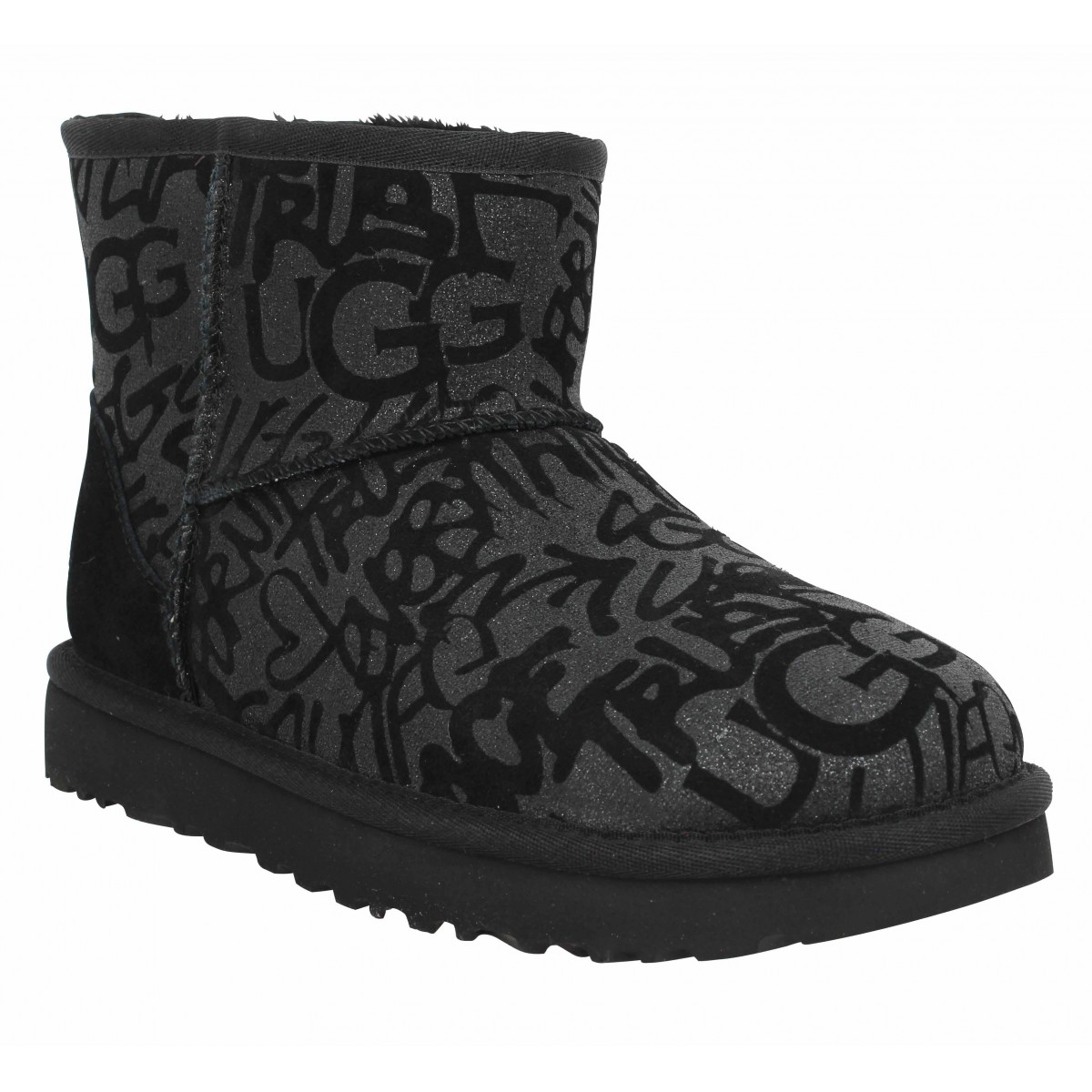 Bottines UGG Classic Mini Sparkle Graffiti velours Femme Noir