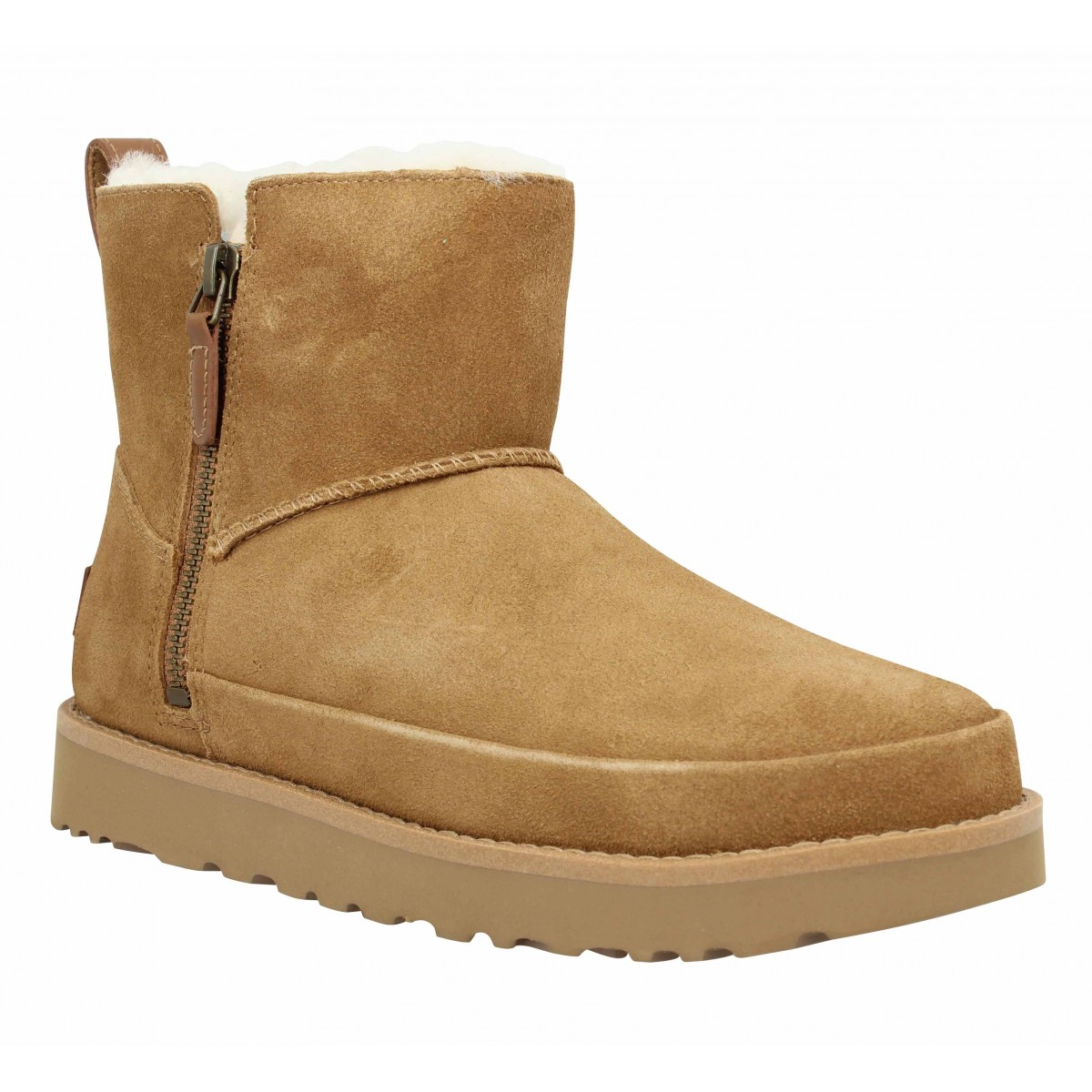 Bottines UGG Classic Zip Mini velours Femme Chestnut