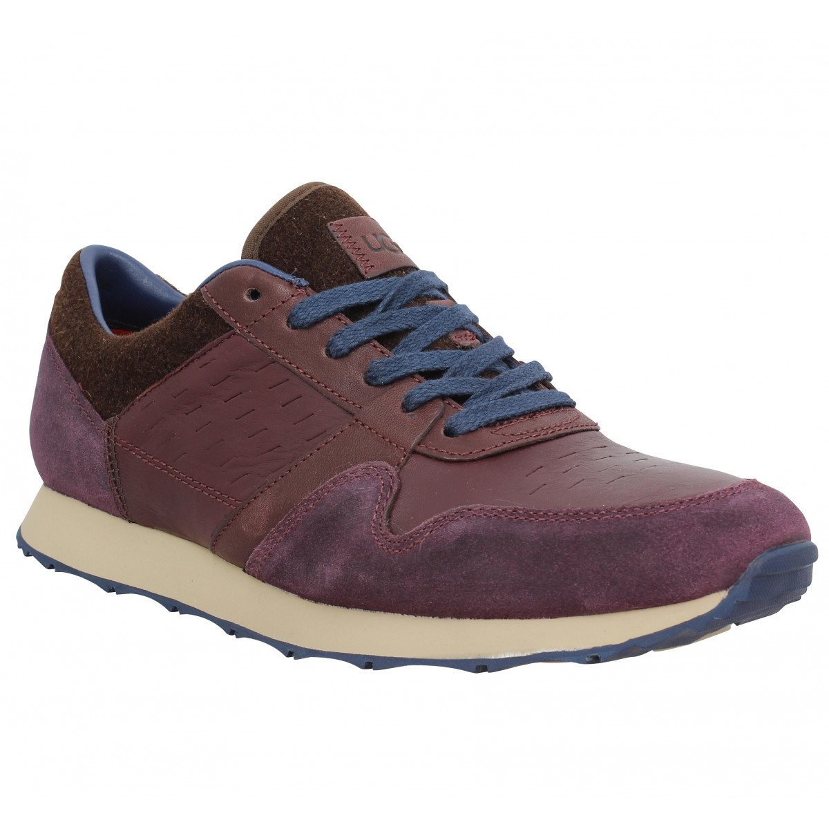 Baskets UGG Trigo cuir velours Homme Bordeaux