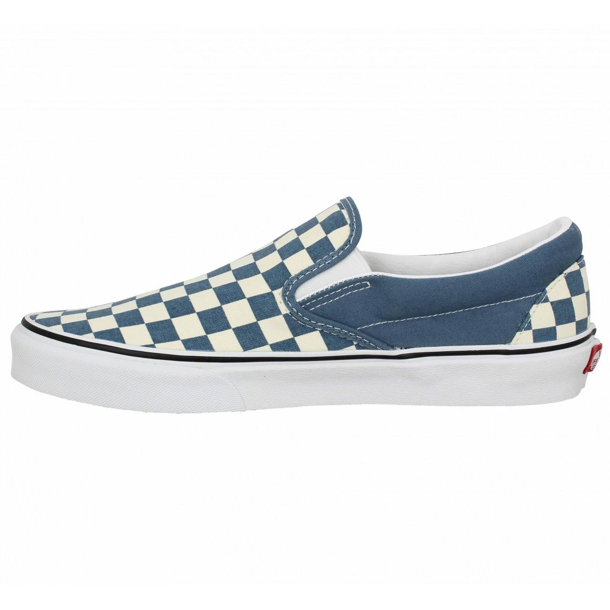 Vans classic slip on toile homme damier blue homme | Fanny chaussures