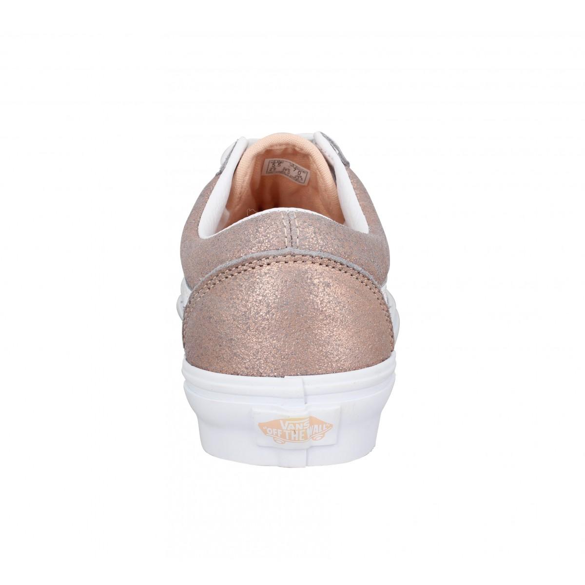 Chaussures Vans old skool cuir femme rose gold femme | Fanny ...