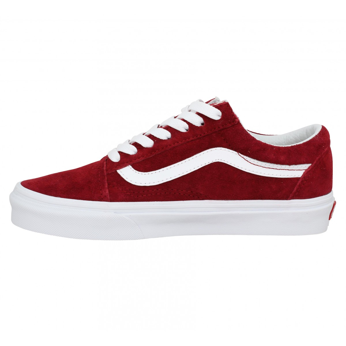 Vans old skool velours femme rouge femme | Fanny chaussures