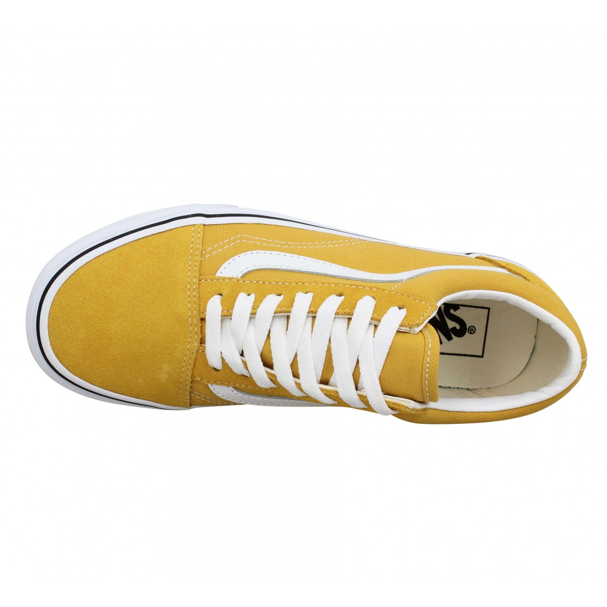 Vans old skool velours toile jaune femme homme | Fanny