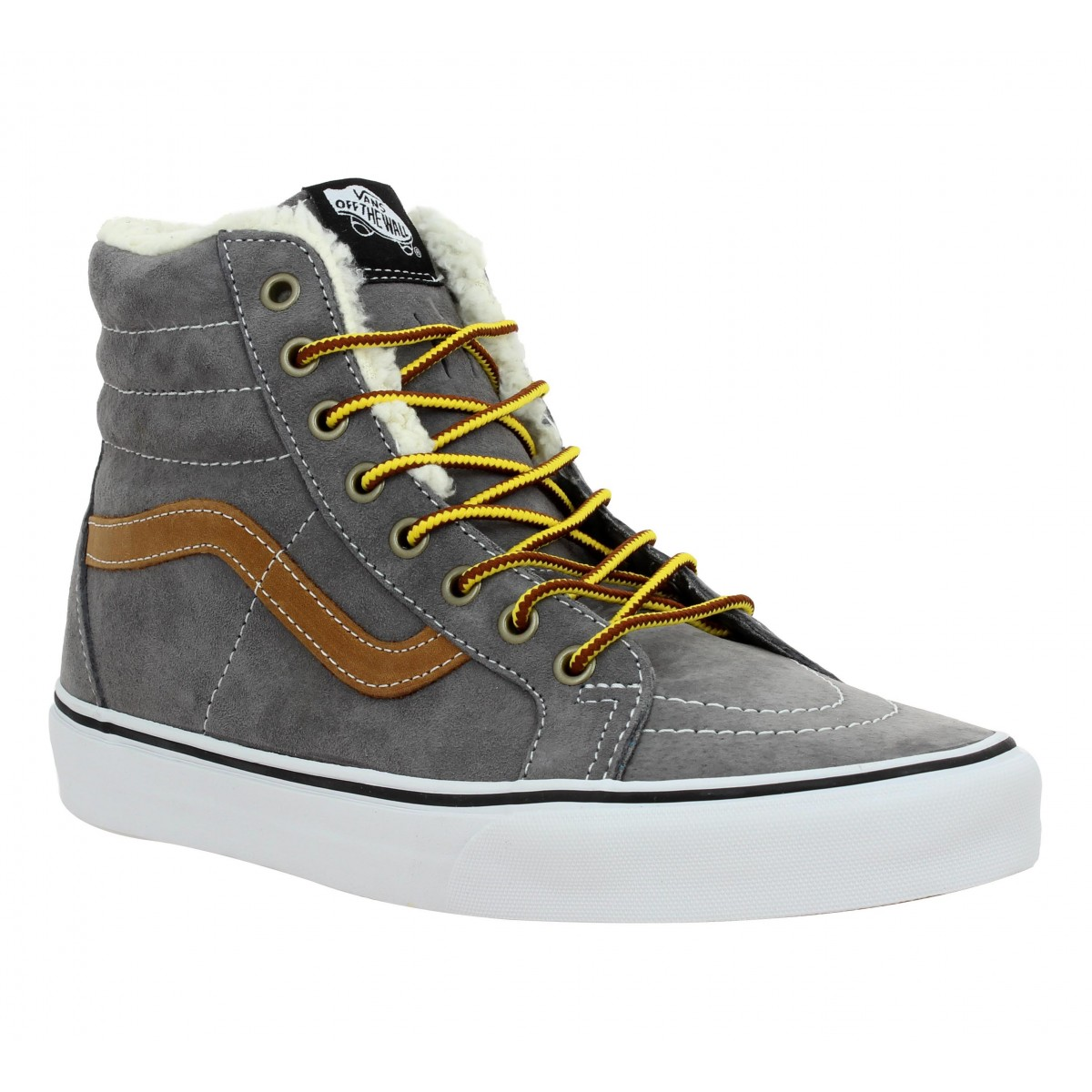 vans sk8 hi reissue velours fourrure homme gris fanny chaussures. Black Bedroom Furniture Sets. Home Design Ideas