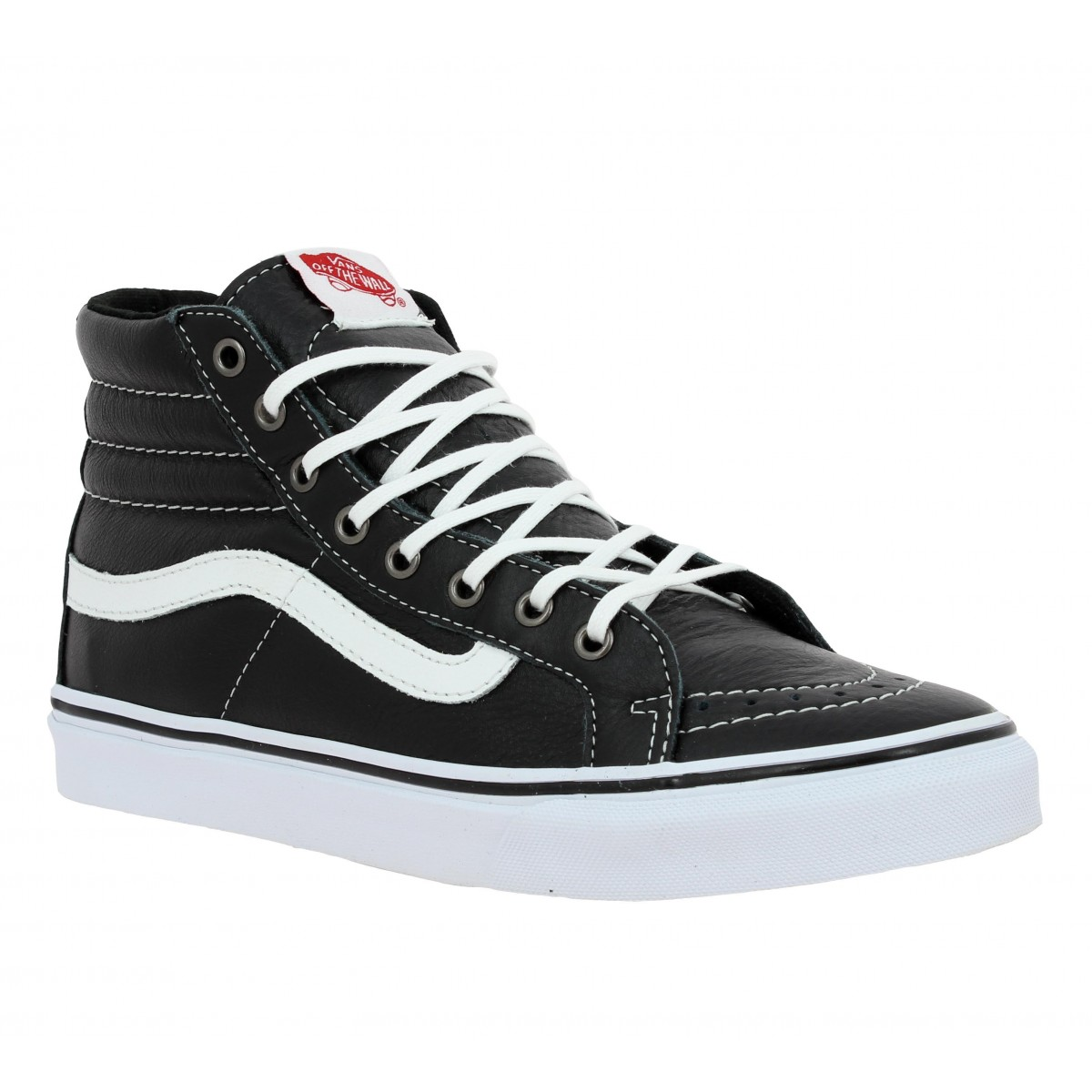 vans sk8 hi slim cuir femme noir blanc fanny chaussures. Black Bedroom Furniture Sets. Home Design Ideas