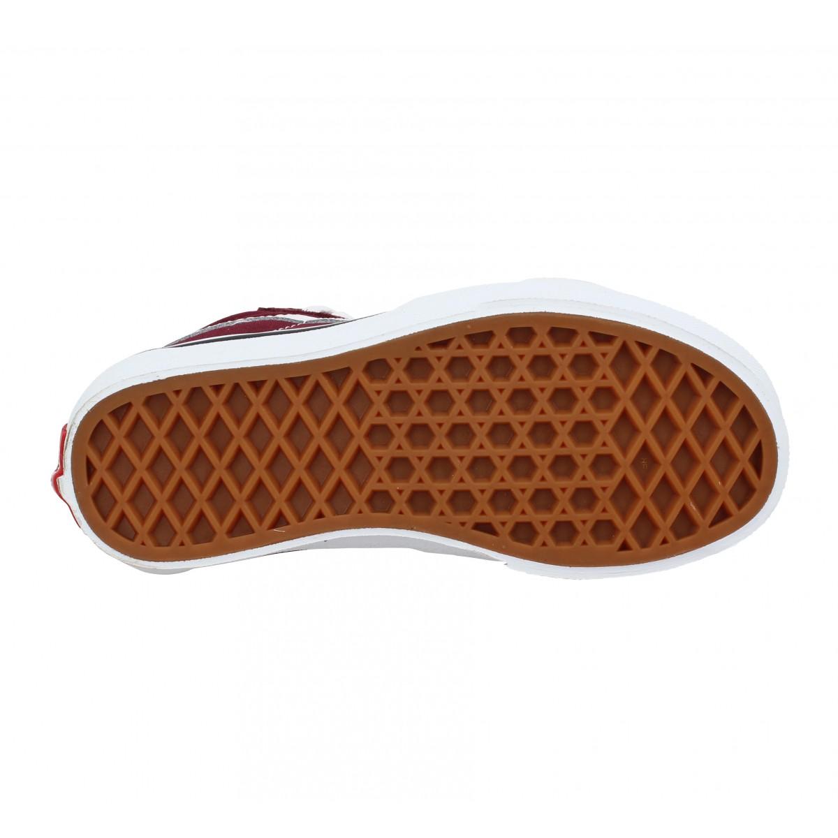 Chaussures Vans sk8 hi velours toile enfant bordeaux enfants ...