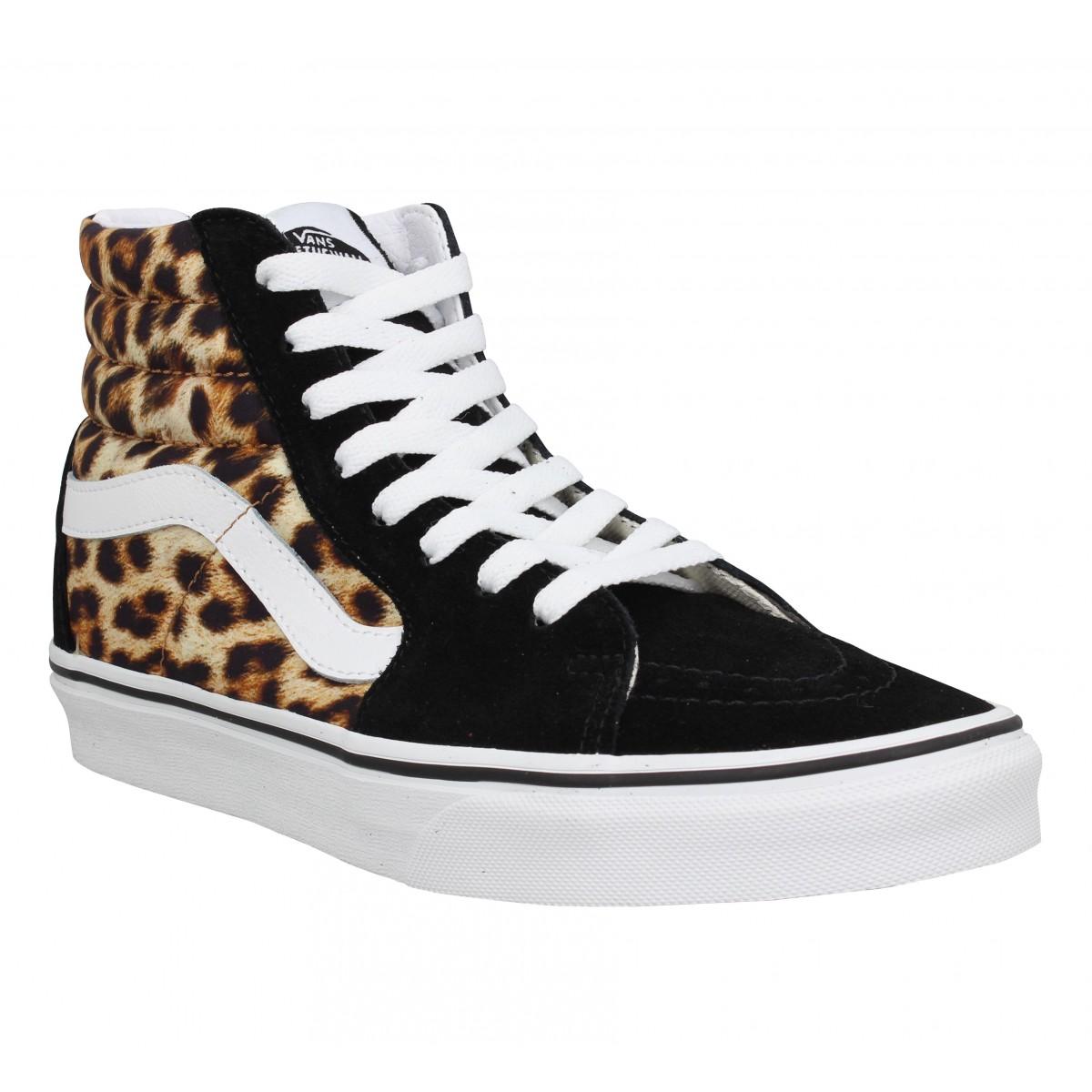 Baskets VANS SK8 Hi velours toile Femme Black Leopard