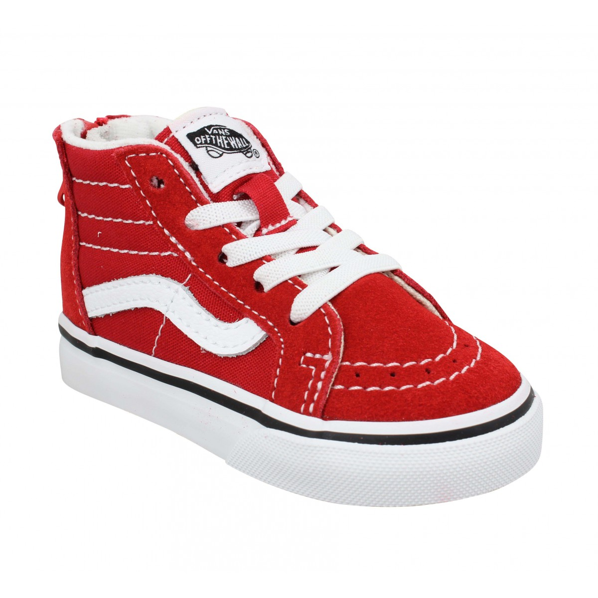 Baskets VANS SK8 Hi Zip velours toile Enfant Racing Red