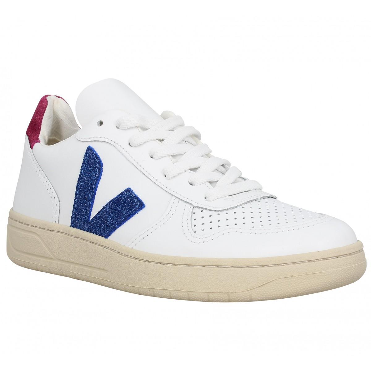 Baskets VEJA V10 cuir Femme Blanc Magenta