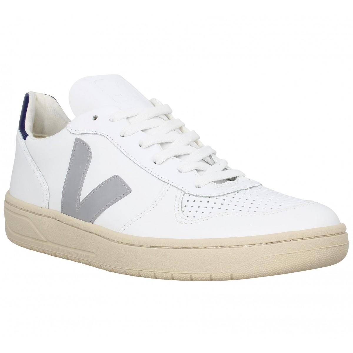 Baskets VEJA V10 cuir Homme Blanc Gris