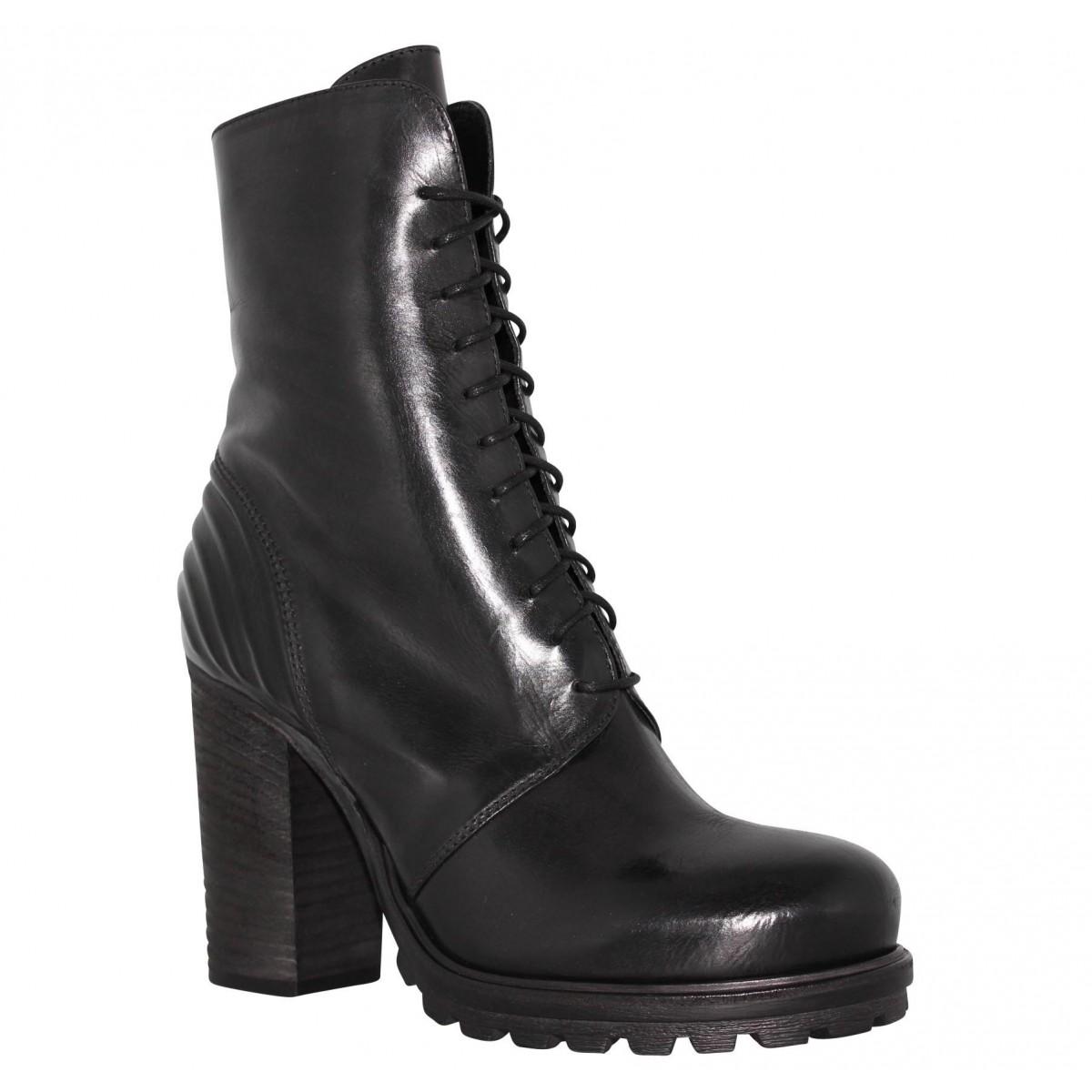 Bottines VIC 8516 cuir Femme Noir