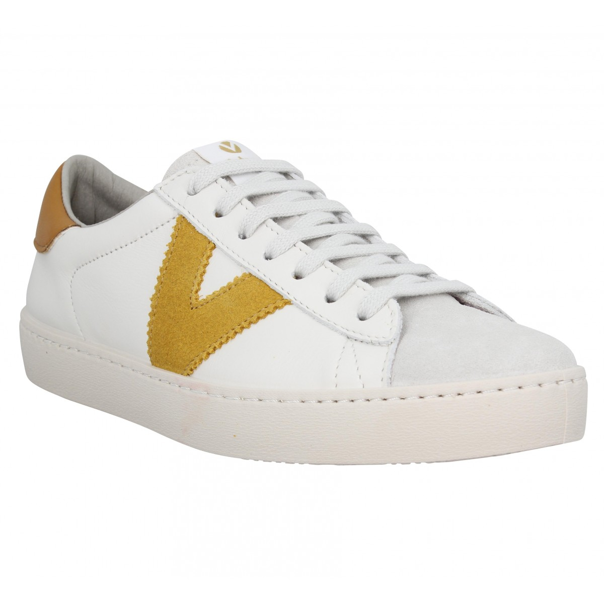 Baskets VICTORIA Berlin cuir Femme Blanc Moutarde