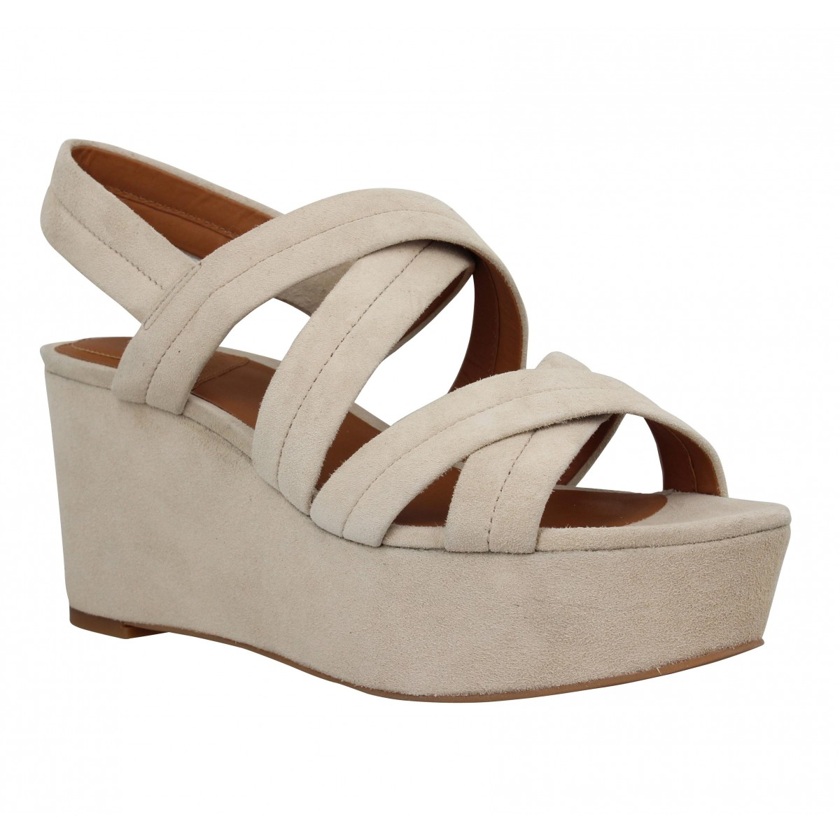Compensées WHAT FOR 022 velours Femme Beige