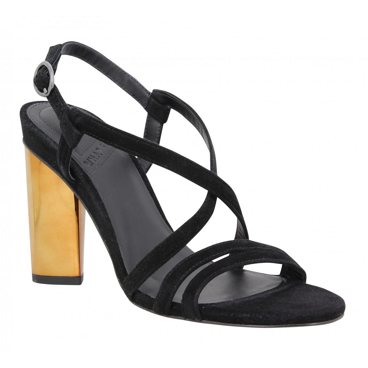 Sandales talons WHAT FOR Elsa velours Femme Noir