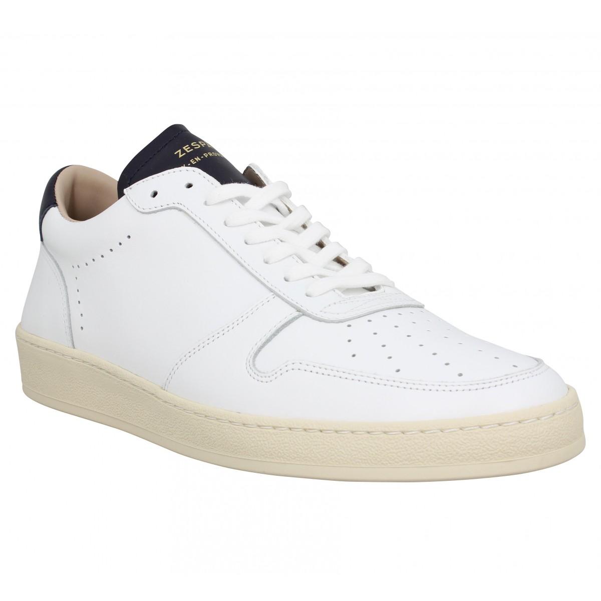 Baskets ZESPA ZSP23 cuir Homme Blanc Navy