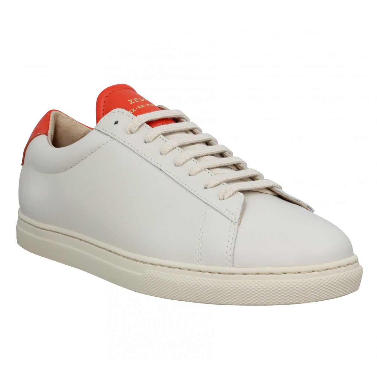 Baskets ZESPA ZSP4 cuir Homme Off White Carotte