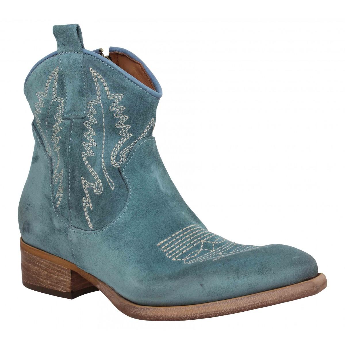 Bottines ZOE New Tex Ric velours Femme Jeans