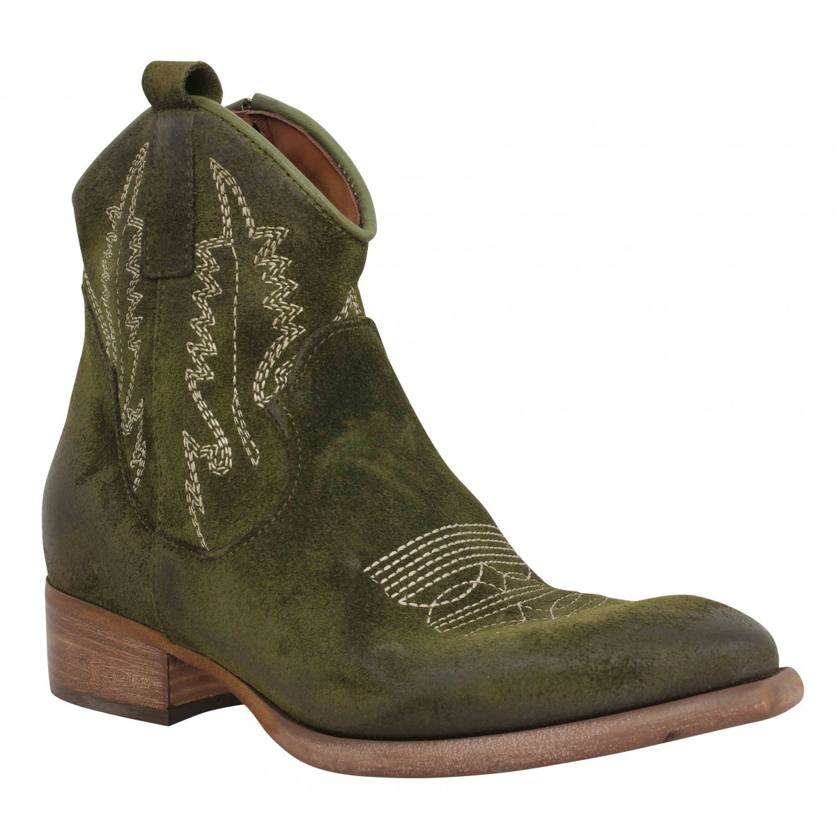 Bottines ZOE New Tex Ric velours Femme Olive